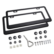 Matte Aluminum License Plate Frame with Chrome Screw Caps, 2Pcs
