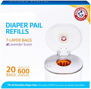 Diaper Pail Snap, Seal and Toss Refill Bags, 20 Bags, Holds 600 Diapers