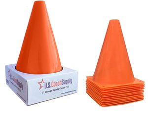 U.S. Coach Supply 7-Inch Orange Sports Training Cones | Agility Marker Cones - (12 Pack)