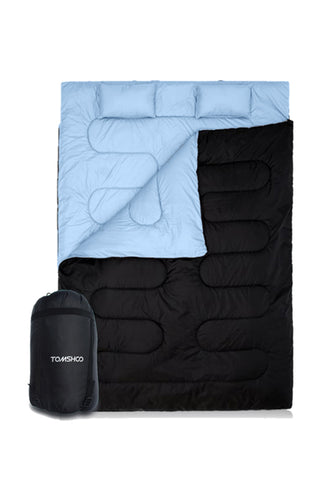 Double Thermal 2 Person Outdoor Sleeping Bag  With 2 Pillows