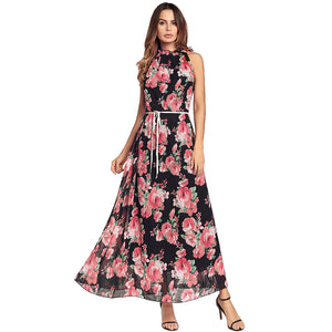 Chiffon Floral Print Maxi  Dress