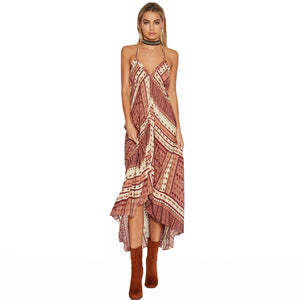 Geometric Print Backless Maxi Dress