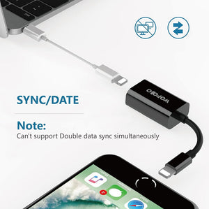 Dual Lightning Adapter for iPhone 7/7 Plus,Wofalo  to Double Lightning AUX Splitter Audio + Charge and Sync Data Co