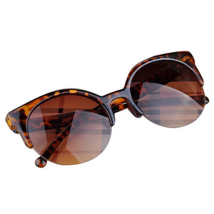 Retro Cat Eye Semi-Rim Round Sunglasses
