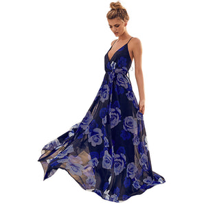 Long V-Neck Maxi Summer Dress