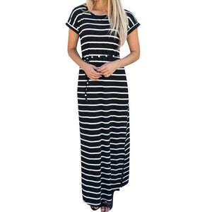 Long Striped Maxi Summer Dress