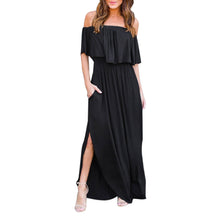 Black Off Shoulder Maxi Summer Dress