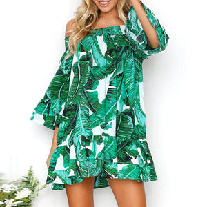 Off Shoulder Leaf Print Floral Party Dress