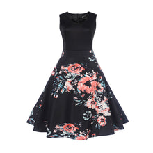 Vintage Black and Pink Floral Sleeveless Swing Dress