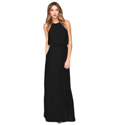 Ruffled Chiffon Maxi Summer Dress