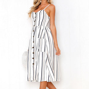 Buttoned Down Striped Sleeveless Summer Dress