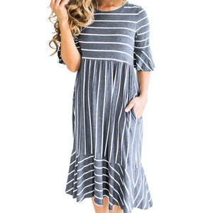 Retro Loose Ruffle Bottom Summer Dress