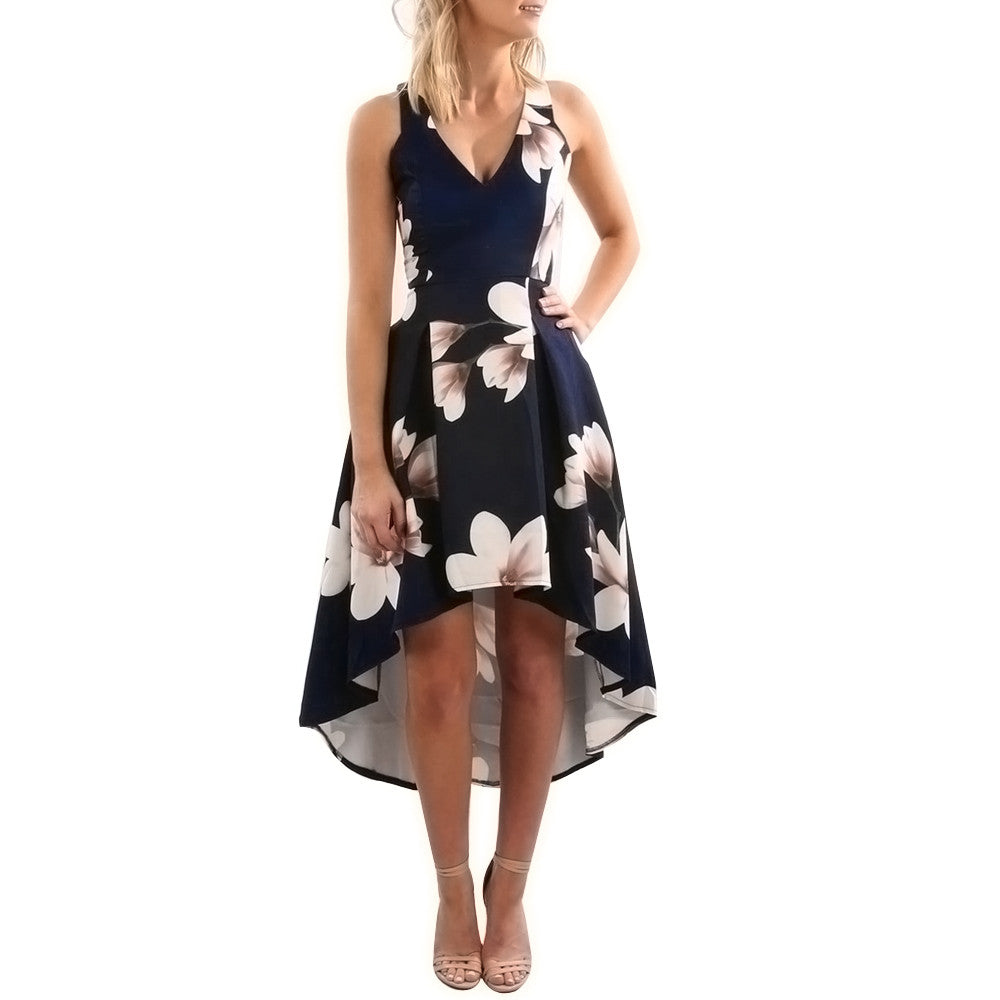 Summer Floral Print Evening Party Dresses