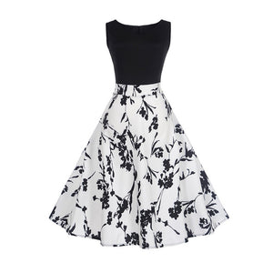 Black and White Vintage Sleeveless Tea Dress