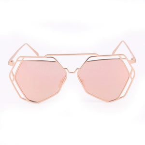 Geometric Twin-Beams Women Mirror Sunglasses