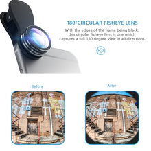 Mpow 3 in 1 Clip-On Phone Camera Lens Kit 180 Degree Fisheye Lens + 0.65X Wide Angle + 10X Macro Lens for iPhone etc Cellphones