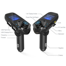 Nulaxy Car MP3 Player Bluetooth FM Transmitter Hands-free Car Kit Audio MP3 Modulator 1.44 Inch Display 2.1A USB Car Charger