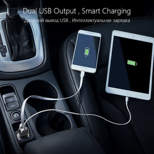 PISEN Dual USB Car Charger for Phones Tablets 1A + Smart 2A Fast Charging in the Car Phone Charger Cigarette lighter USB Adapter