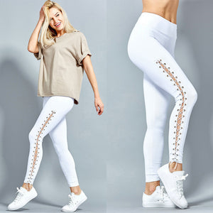White Black Fitness Leggings  With Side Leg Straps