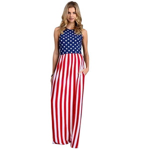 Stars and  Stripes Sleeveless  Side Pocket Maxi Dress