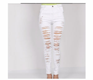 Denim High Waist Ripped Jeans