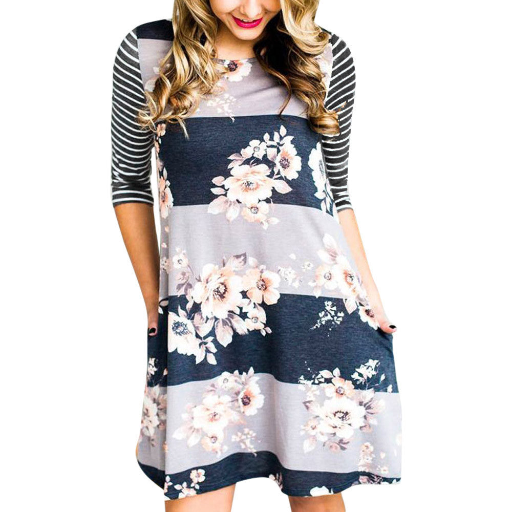 Floral Print Pocket Summer Dress