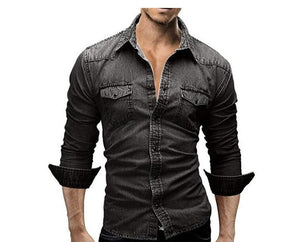 Men's Long Sleeve Casual Solid Denim Style Shirt