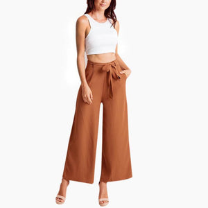 Casual Wide Leg Ankle-Length Slacks (with sashes)