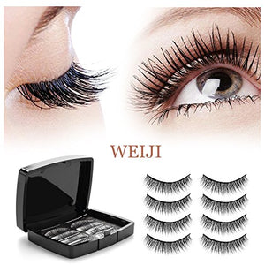 Magnetic Eyelashes No Glue - Dual Magnets Natural False Eyelashes - 3D Reusable Full Eye Fake Lashes Extensions - Thick Soft & Handmade Seconds to Apply (1 Pair 4 Pieces)