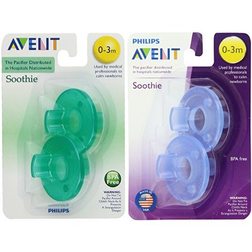 Philips AVENT Soothie Pacifier, 0-3 Months, 2-Pack, Pink/Purple