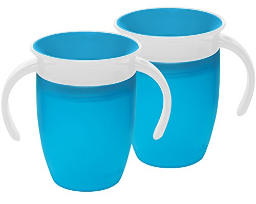 Munchkin Miracle 360 Trainer Cup, Green/Blue, 7 Ounce, 2pcs Set