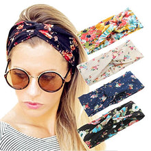 4 Pack Women Headband Boho Floal Style Criss Cross Head Wrap Hair Band