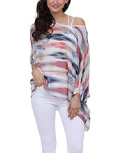 Floral/Solid Batwing Sleeve Chiffon Beach Loose Blouse