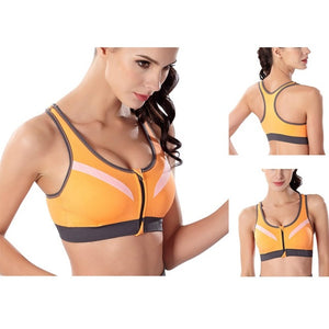Ship From US&CN Women Sports Bra Front Zipper Breathable Wire Free Running Yoga Fitness Exercise Tops S-L GYM Costume