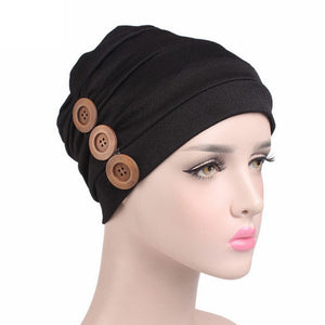 Casual Button  Turban Hat