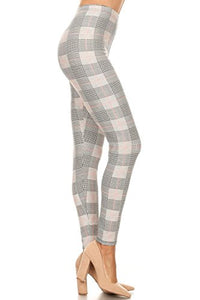 Pink Line Checkered Pattern Soft Printed Fashion Leggings