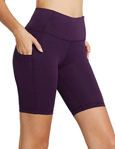 "Women's 8"" High Waist Tummy Control Workout Yoga Shorts"