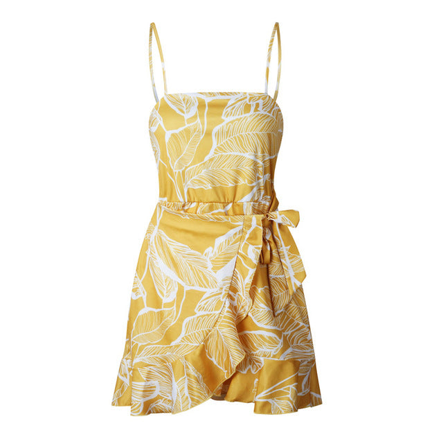 Ruffle Mini Spaghetti Strap Summer Dress