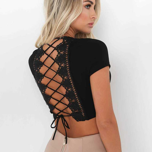 Back Lace Open Short Length And Sleeve Top For Females