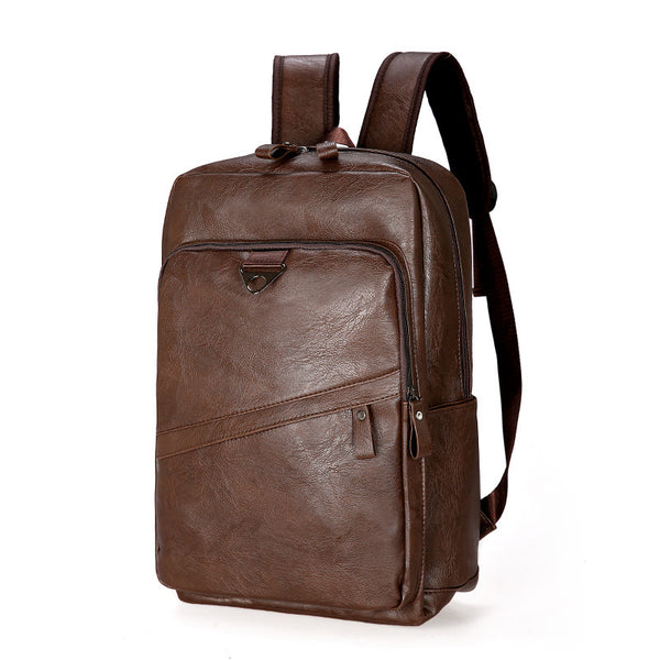 Mask Mens's soft leather large capacity backpack