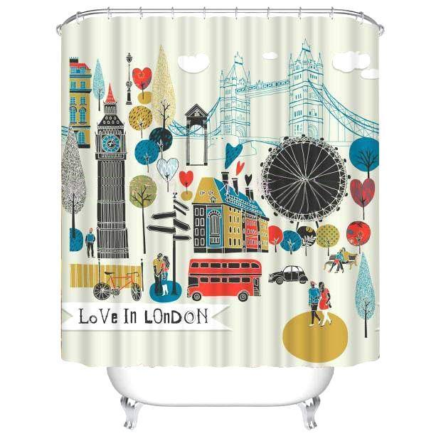 Cartoon Landscape Printed European Polyester Shower Curtain Shower Curtains - GlobePanda