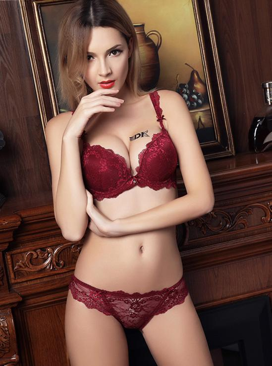 65fbff53ffc Underwire Padded Floral Printed Lace Edged Bra and Panty Set -3391 ...