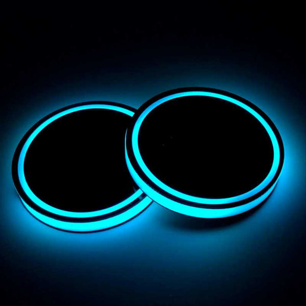 Anti-Slip Led Light Glass Coaster Pair For Car- 12401