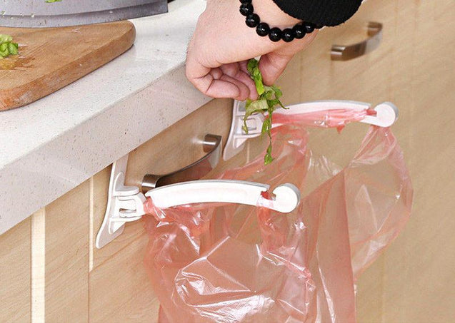 plastic, foldable, poly bag hanger, kitchen. washroom, space saver, drilling free