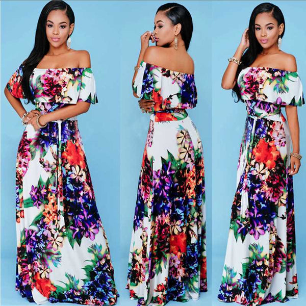 Off - Shoulder Floral Half Sleeves Trendy Dress