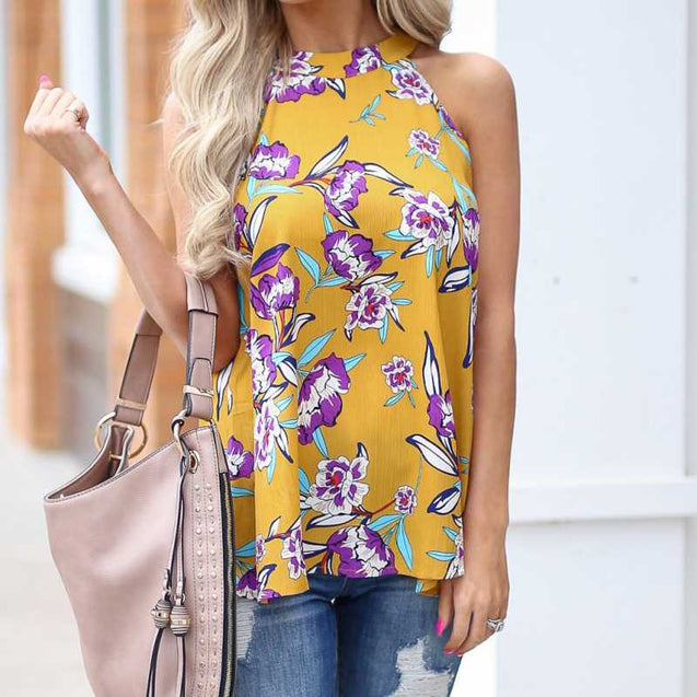 Chiffon Made Floral Printed Sleeveless Top