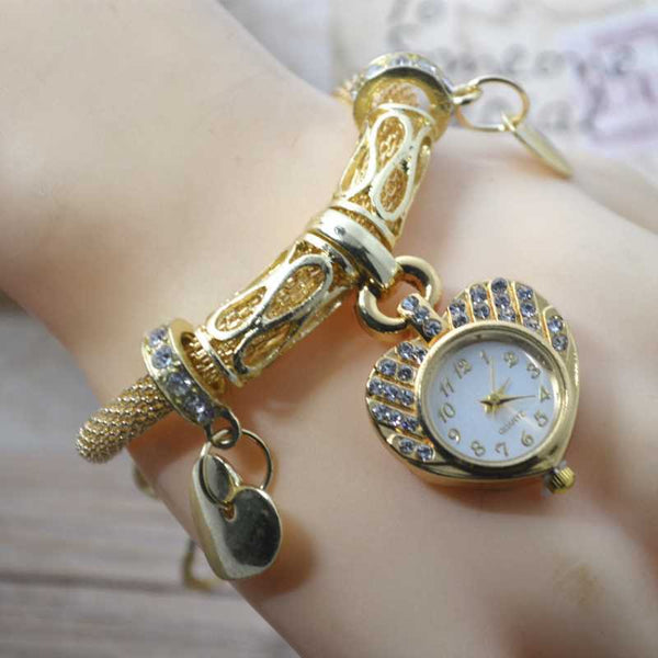 Heart Shaped Fully Embellished Bracelet Style Watch For Females