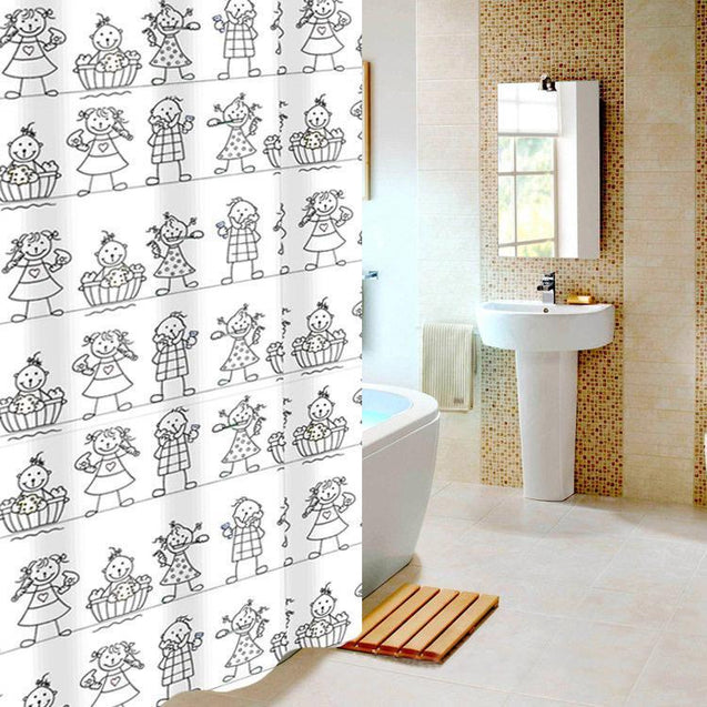 Cartoon Printed Polyester Thick Waterproof Shower Curtain Shower Curtains - GlobePanda