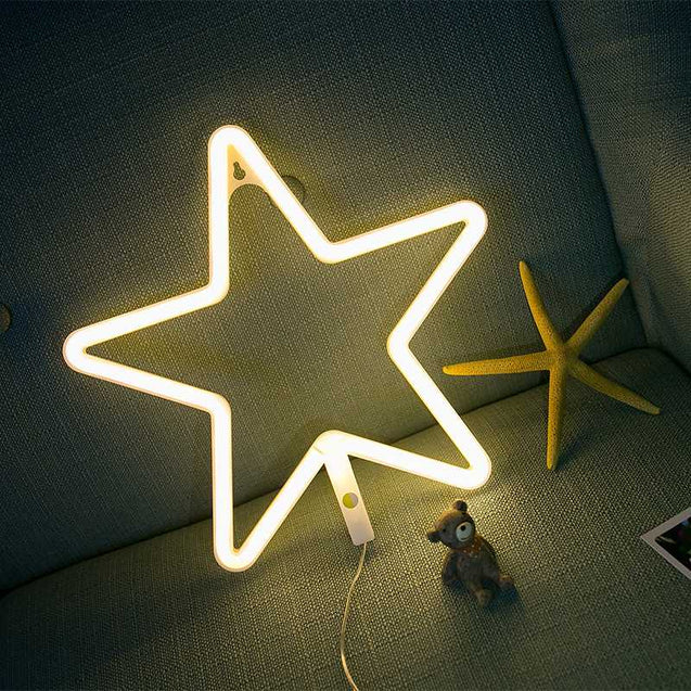 New One Generation Of Neon Star Lights Room Decoration Bedroom Decoration Girl Heart Photo Props Battery-12724