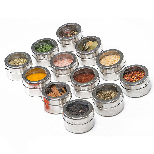Stainless Steel Magnetic Type Seasoning Box - 12 Piece Set-14040